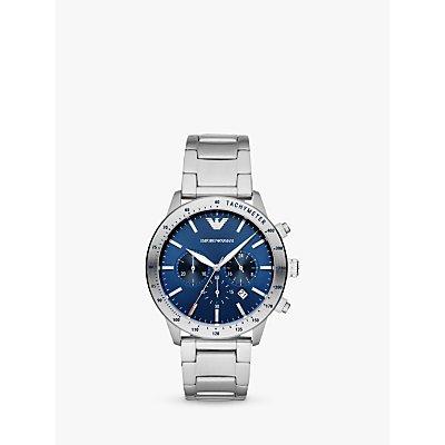 Emporio Armani AR11306 Men s Chronograph Date Bracelet Strap Watch  Silver Blue - 4053858595958