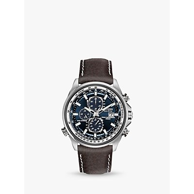 Citizen AT8021 01L Men s Eco Drive Chronograph World Time Leather Strap Watch  Brown Blue - 4974374292988