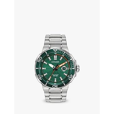 Citizen AW1428 53X Men s Endeavour Eco Drive Date Bracelet Strap Watch  Silver Green - 4974374288707