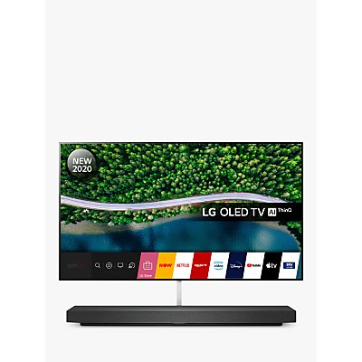 LG OLED65WX9LA (2020) SIGNATURE OLED HDR 4K Ultra HD Smart TV, 65 inch with Freeview HD/Freesat HD, Picture-On-Wall Design & Dolby Atmos Sound Base Unit, Black