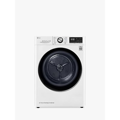 LG Eco Hybrid™ V900 FDV909W Tumble Dryer, 9kg Load, A+++ Energy Rating, White