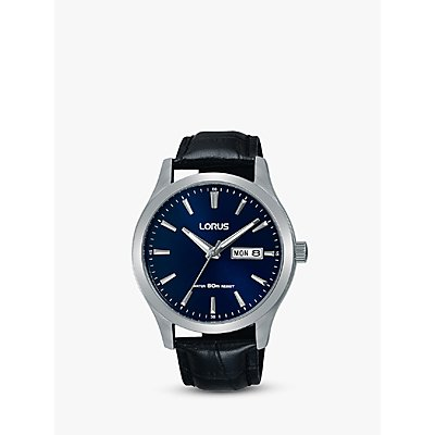 Lorus Men s Day Date Leather Strap Watch - 4894138332746