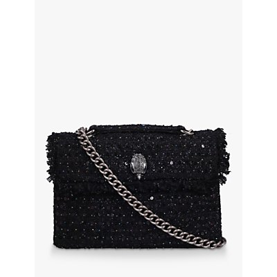 Kurt Geiger London Kensington Tweed Large Cross Body Bag, Black