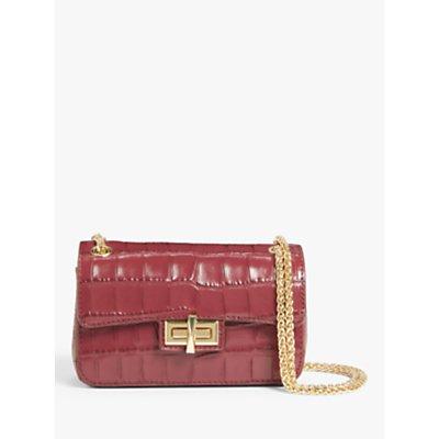 DKNY Jojo Croc Leather Cross Body Bag, Aged Wine