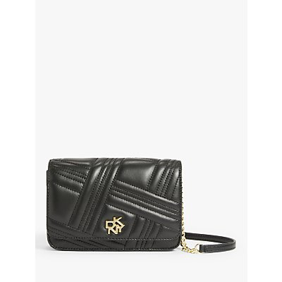 DKNY Alice Quilted Leather Wallet On Chain Bag, Black/Gold