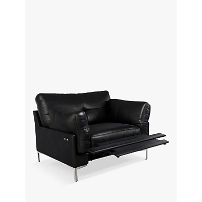 John Lewis & Partners Java II Motion Leather Armchair with Footrest Mechanism, Metal Leg