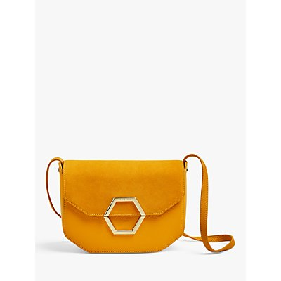 Ted Baker Lenah Leather Suede Cross Body Bag, Yellow
