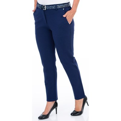 Anna Rose Slim Fit Belted Trousers - BLUE