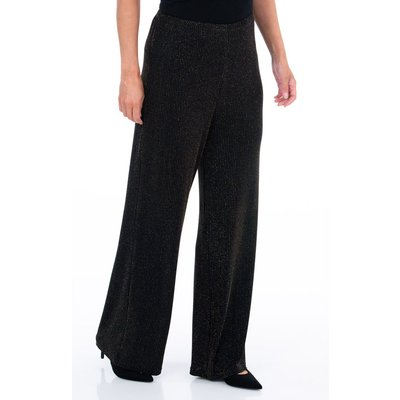 Sparkle Ribbed Wide Leg Trousers - BLACK/GOLD