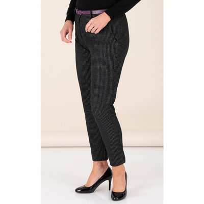 Anna Rose Textured Trousers With Belt - BLACK/WHITE