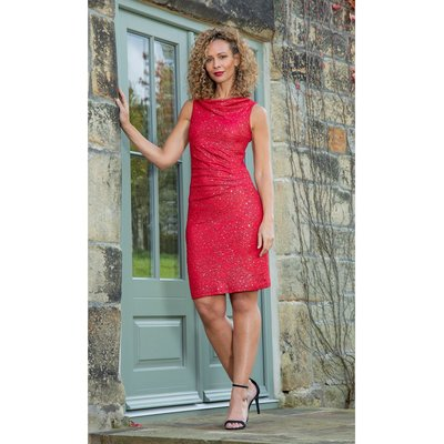 Fitted Cowl Neck Sleeveless Dress - RED/GOLD
