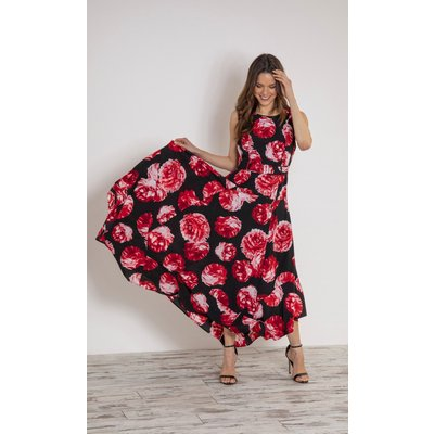 Floral Printed Sleeveless Maxi Dress With Belt - BLACK/RED