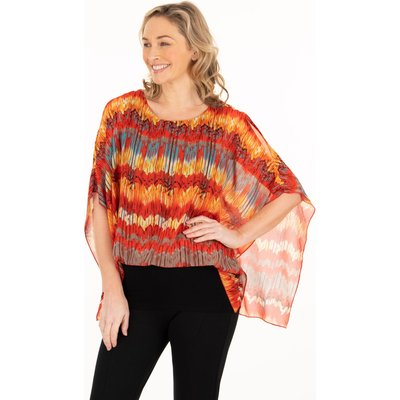 Printed Georgette And Jersey Top - ORANGE/CHOCOLATE/TEAL