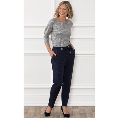 Anna Rose Spotted Straight Leg Trousers - MIDNIGHT