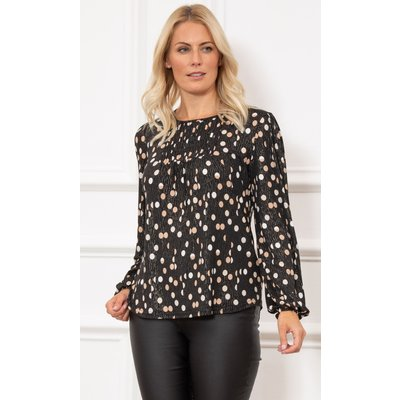 Spotted Long Sleeve Shimmer Jersey Top - BLACK/MULTI