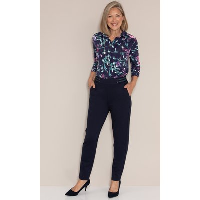 Anna Rose Pull On Straight Leg Ponte Trousers - NAVY