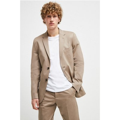 Stretch Cotton Suit Jacket - timber brown