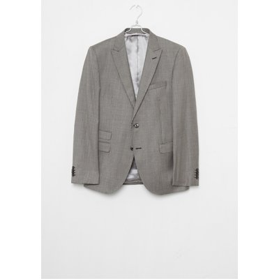 Light Grey Dogtooth Suit Jacket - light grey