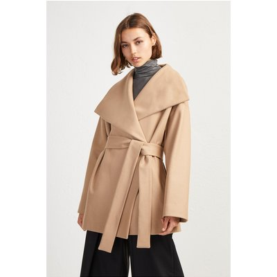 Platform Felt Funnel Neck Coat - camel