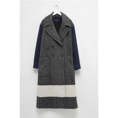 Ceri Mix Tweed Longline Pea Coat - salt & pepper multi