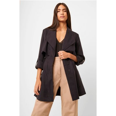 Carla Lyocell Oversized Short Coat - utility blue