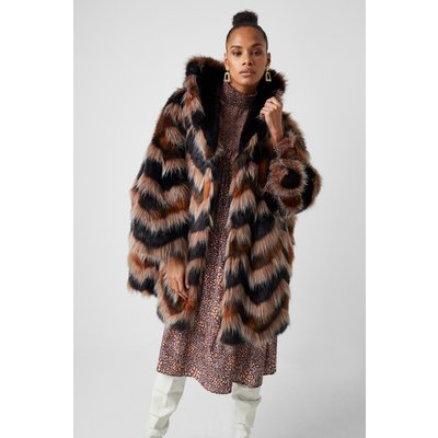 Dallow Faux Fur Hooded Coat - bitter chocolate