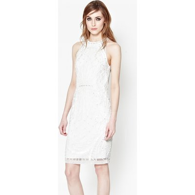 Pearl Embellished Cage Dress - winter white