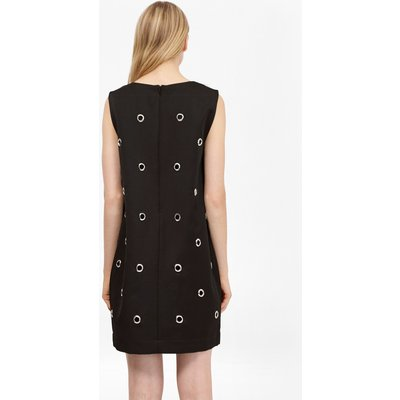 Midnight Satin Eyelet Tunic Dress - black