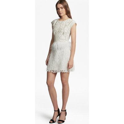 Snow Spell Feather Beaded Dress - winter white