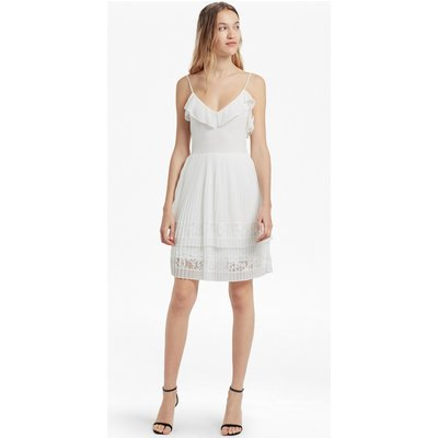 Adanna Pleat Lace Jersey Dress - summer white