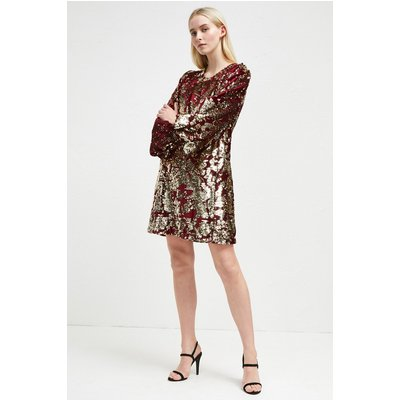 Ethel Sequin Tunic Dress - deep framboise/gold