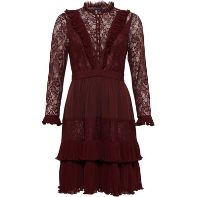 Clandre Vintage Lace Mix Dress - rosso red