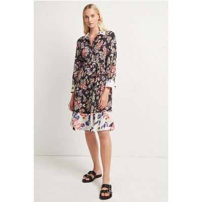 Acena Voile Floral Shirt Dress - utility blue/classic cream multi