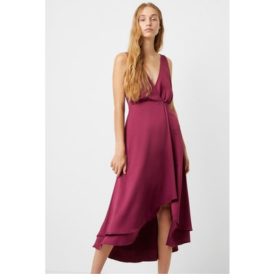 Alessia Satin Wrap Dress - hollyhock