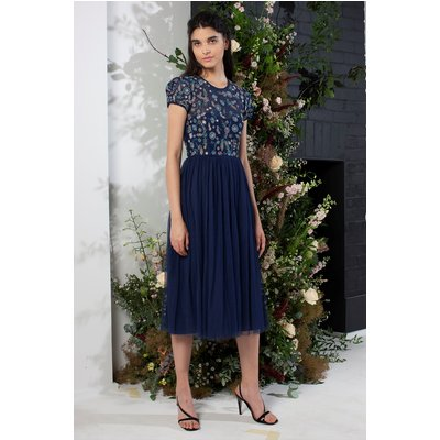 Diya Lace Mix Bridesmaid Dress - deep cobalt