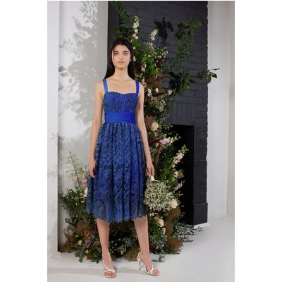 Elsa Lace Midi Bridesmaid Dress - clement blue