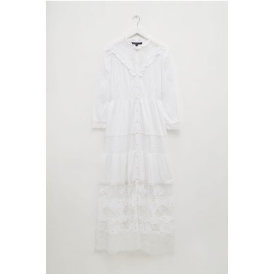 Adeona Lawn Lace Mix Dress - linen white