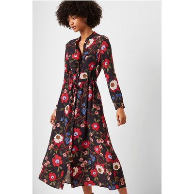 Eloise Drape Midi Shirt Dress - utility blue multi