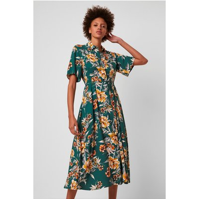 Claribel Floral Midi Shirt Dress - evergreen multi