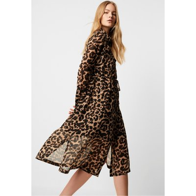 Animal Georgette Midi Shirt Dress - large leopard