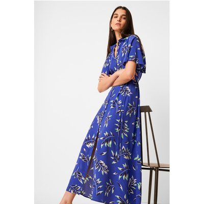 Andini Drape Printed Midi Shirt Dress - clement blue multi