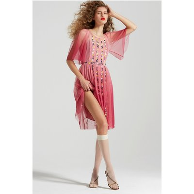 Amana Embroidered Ombre Dress - very berry
