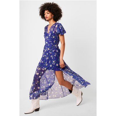 Jasmine Crinkle Midi Tea Dress - clement blue multi