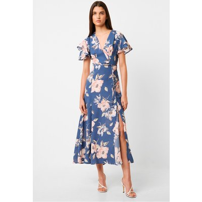 Verona Drape Midi Floral Tea Dress - vintage blue multi