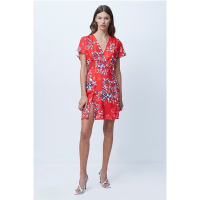 Coletta Crepe Short Sleeve Dress - bright flame multi