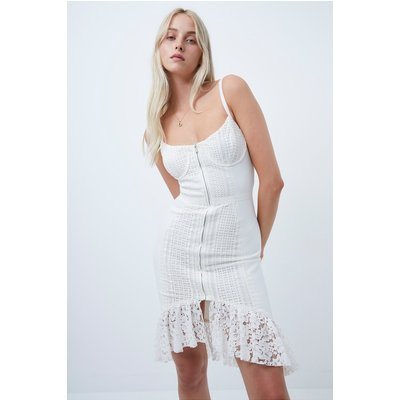 Iva Whisper Lace Mix Fitted Dress - summer white