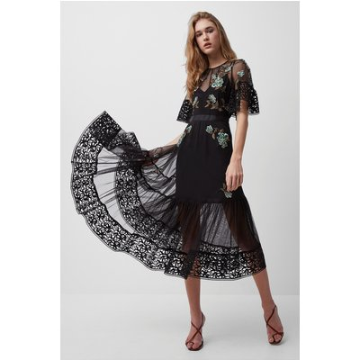 Ambre Embroidered Floral Dress - black/hawthorn green