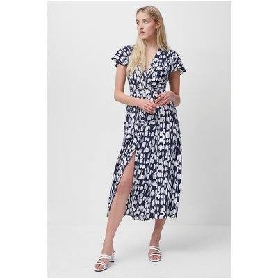 Islanna Crepe Printed Midi Dress - nocturnal/summer white