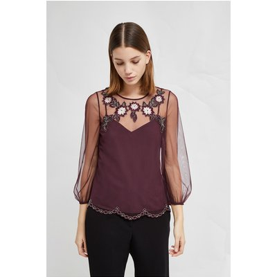 Alysse Floral Embellished Blouse - black grape