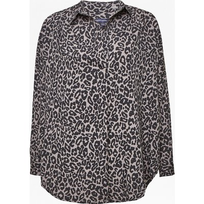 Animal Print Pop Over Shirt - grey leopard
